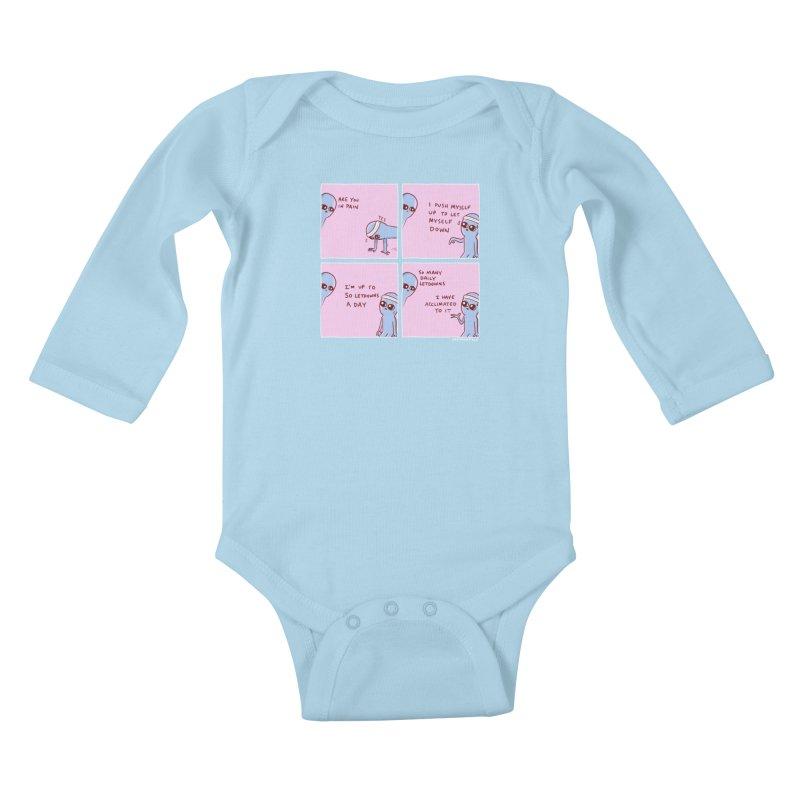 STRANGE PLANET:  p a i n Kids Baby Longsleeve Bodysuit by Nathan W Pyle