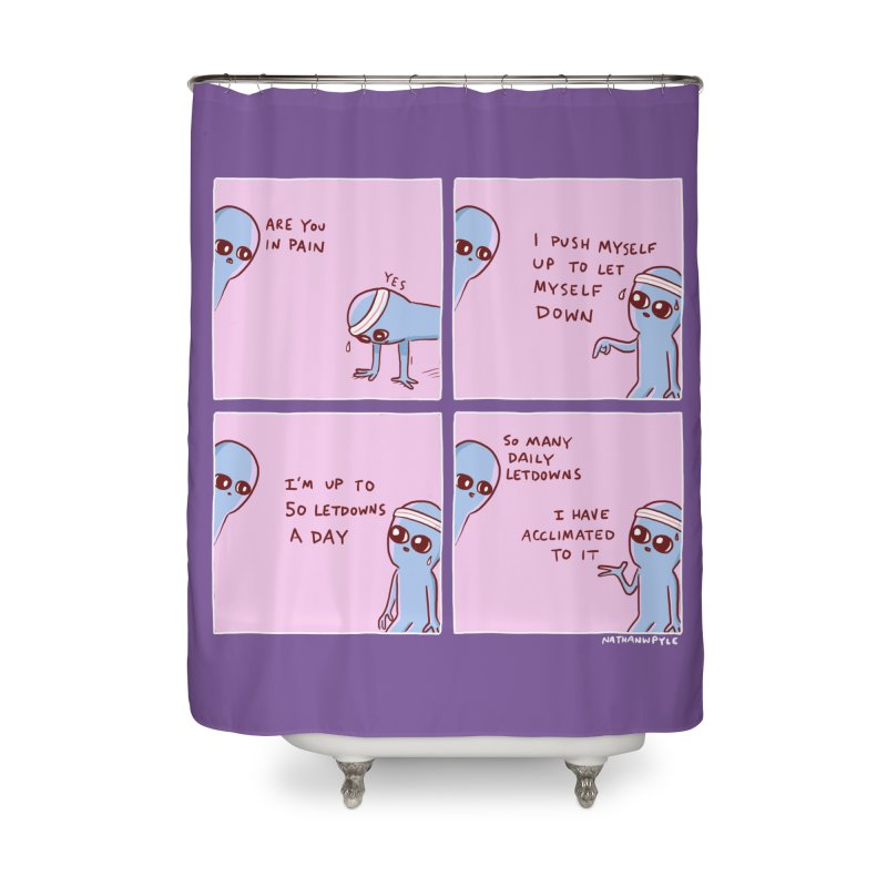 STRANGE PLANET:  p a i n Home Shower Curtain by Nathan W Pyle