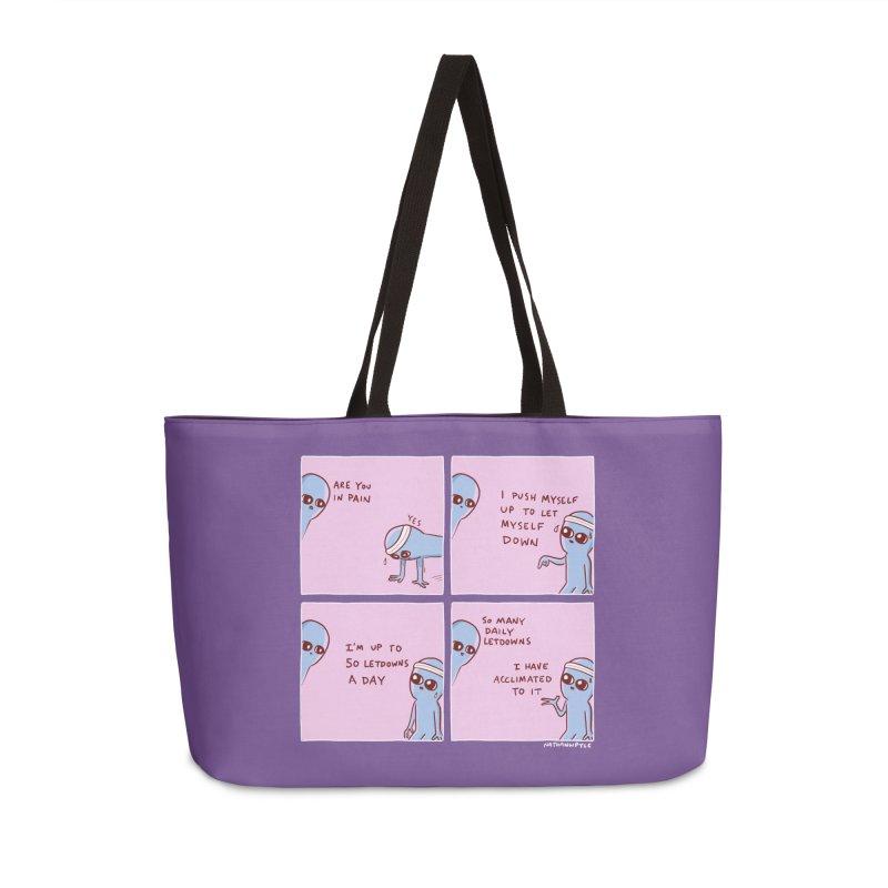 STRANGE PLANET:  p a i n Accessories Weekender Bag Bag by Nathan W Pyle