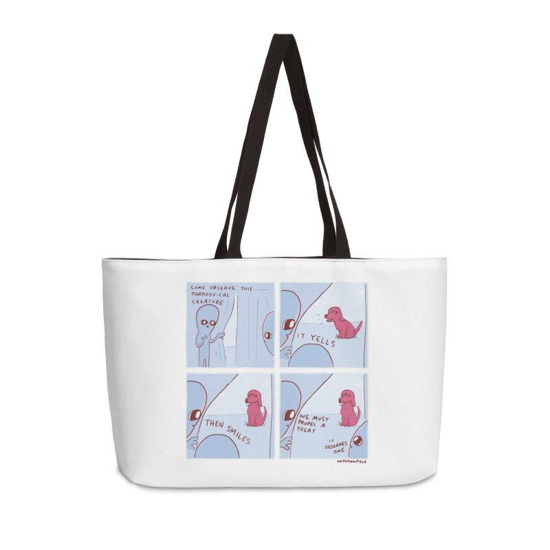 STRANGE PLANET: p a r a d o x i c a l Accessories Weekender Bag Bag by Nathan W Pyle