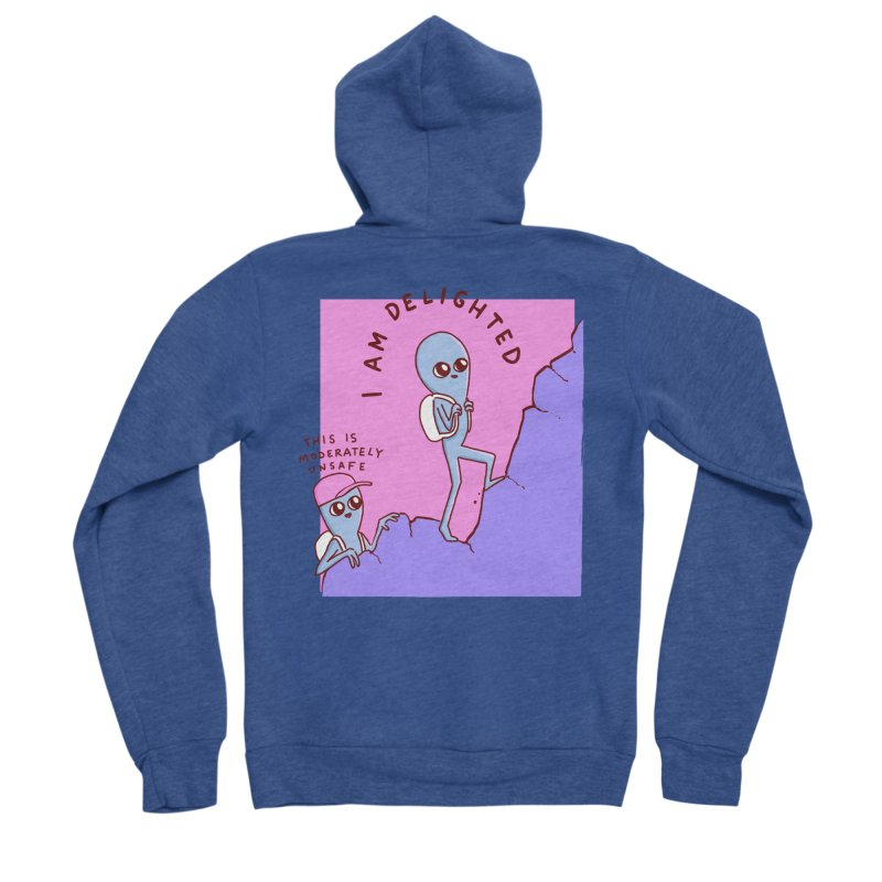 STRANGE PLANET SPECIAL PRODUCT: MODERATELY UNSAFE Women's Sponge Fleece Zip-Up Hoody by Nathan W Pyle
