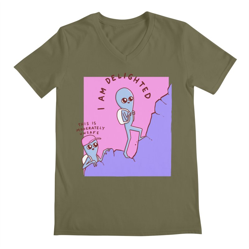 STRANGE PLANET SPECIAL PRODUCT: MODERATELY UNSAFE Men's Regular V-Neck by Nathan W Pyle
