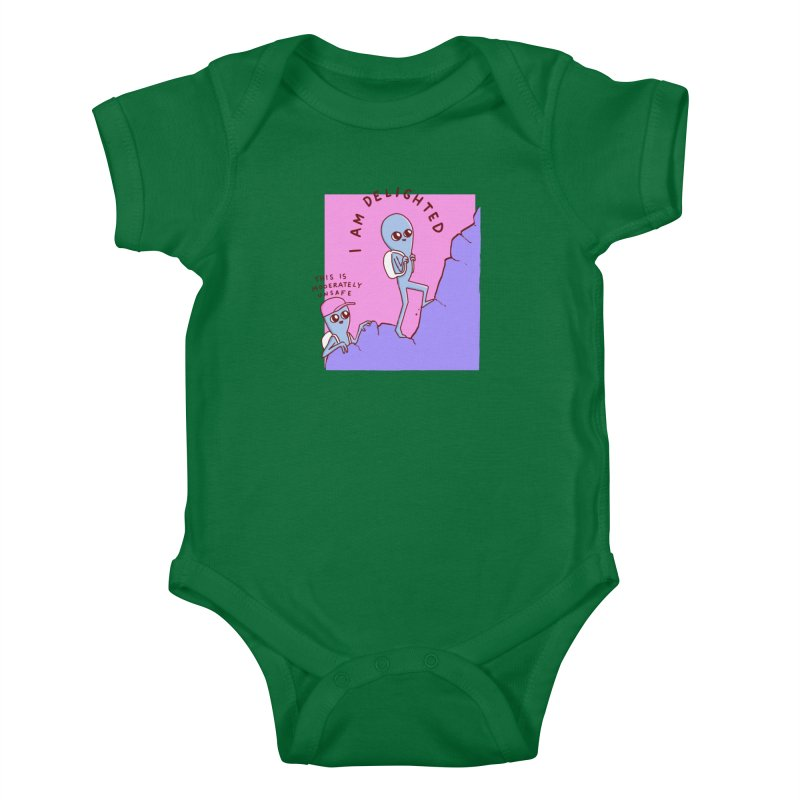 STRANGE PLANET SPECIAL PRODUCT: MODERATELY UNSAFE Kids Baby Bodysuit by Nathan W Pyle