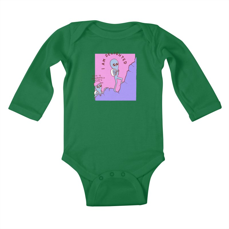 STRANGE PLANET SPECIAL PRODUCT: MODERATELY UNSAFE Kids Baby Longsleeve Bodysuit by Nathan W Pyle