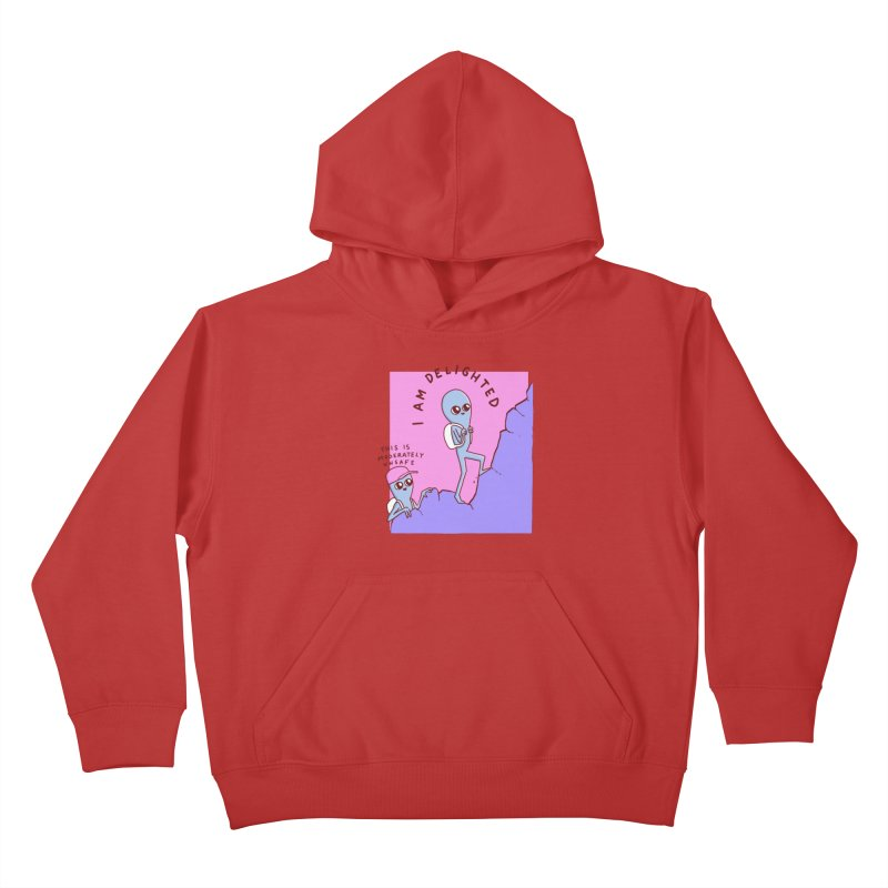 STRANGE PLANET SPECIAL PRODUCT: MODERATELY UNSAFE Kids Pullover Hoody by Nathan W Pyle