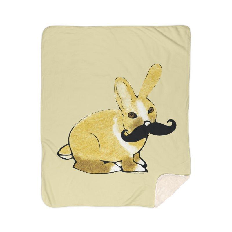 Bunny Rabbit w/ Mustache - Countess Hare Pamela Home Sherpa Blanket Blanket by Natina Norton Designs