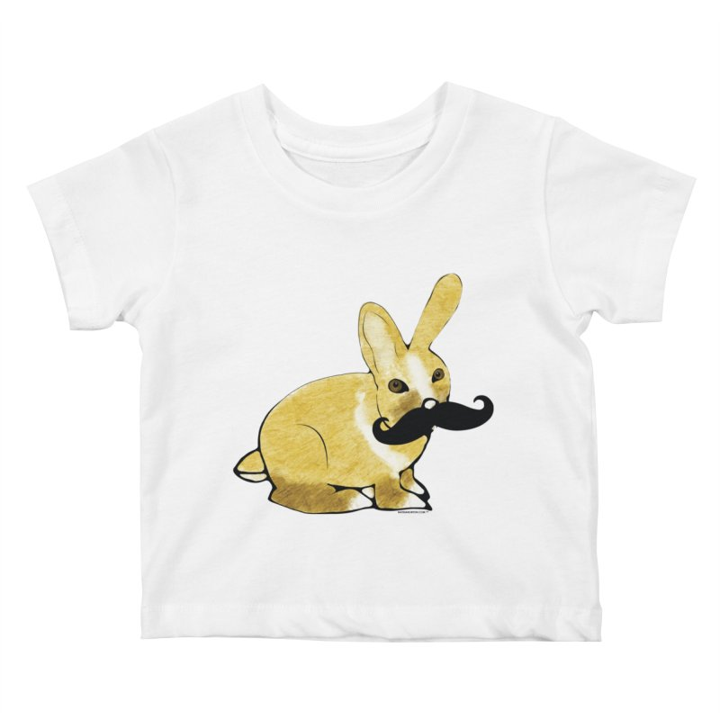 Bunny Rabbit w/ Mustache - Countess Hare Pamela Kids Baby T-Shirt by Natina Norton Designs