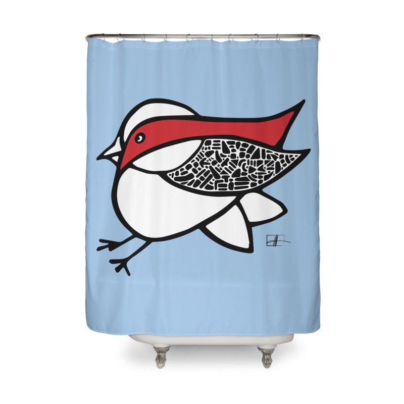 Chubby Birdie Felix Home Shower Curtain by Hardcore Hardwear & Design Shop