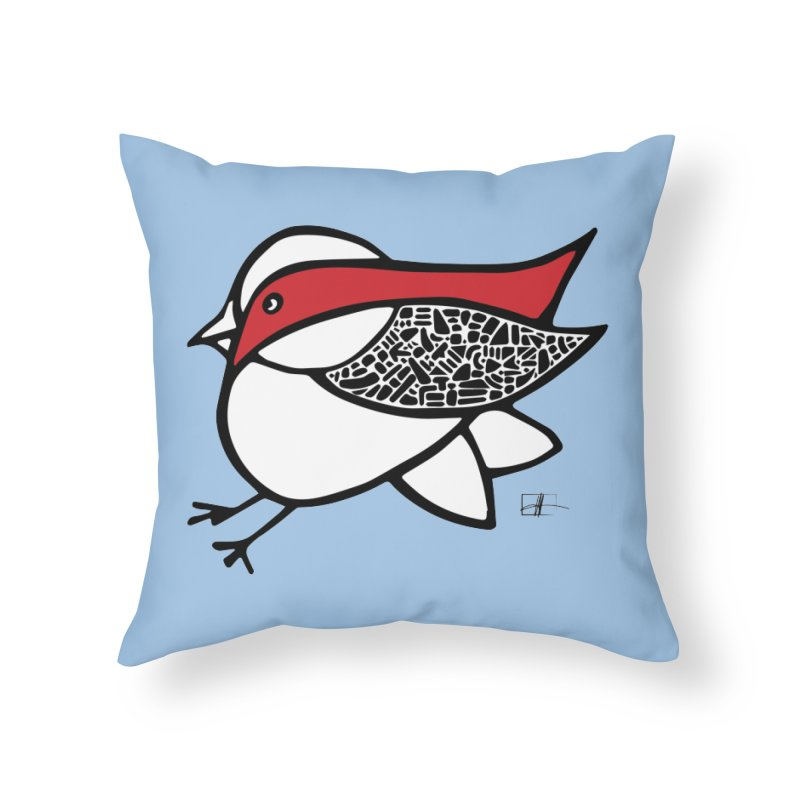 Chubby Birdie Felix Home Throw Pillow by Hardcore Hardwear & Design Shop