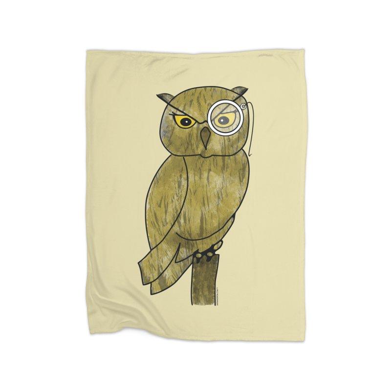 Sir Hootington - Owl Home Fleece Blanket by Natina Norton Designs