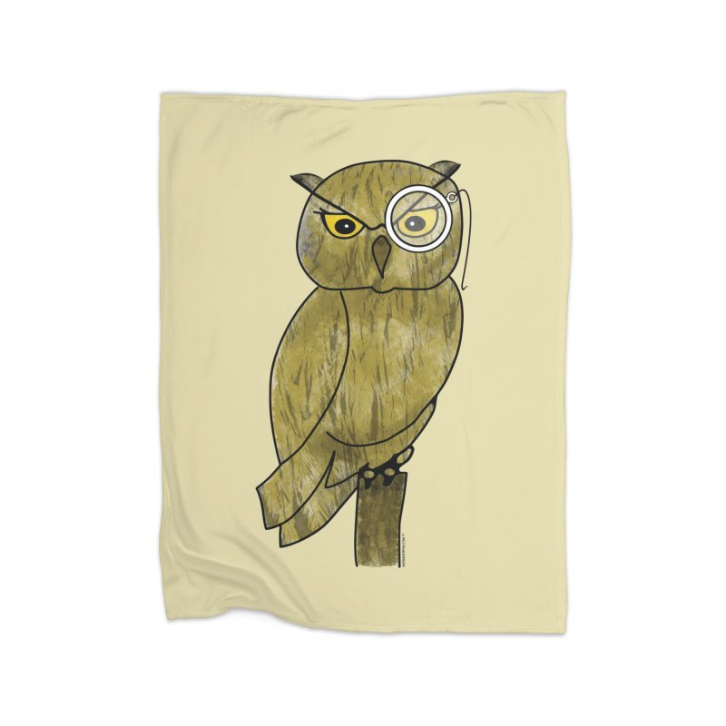 Owl w/ Monocle - Sir Hootington Home Fleece Blanket Blanket by Natina Norton Designs
