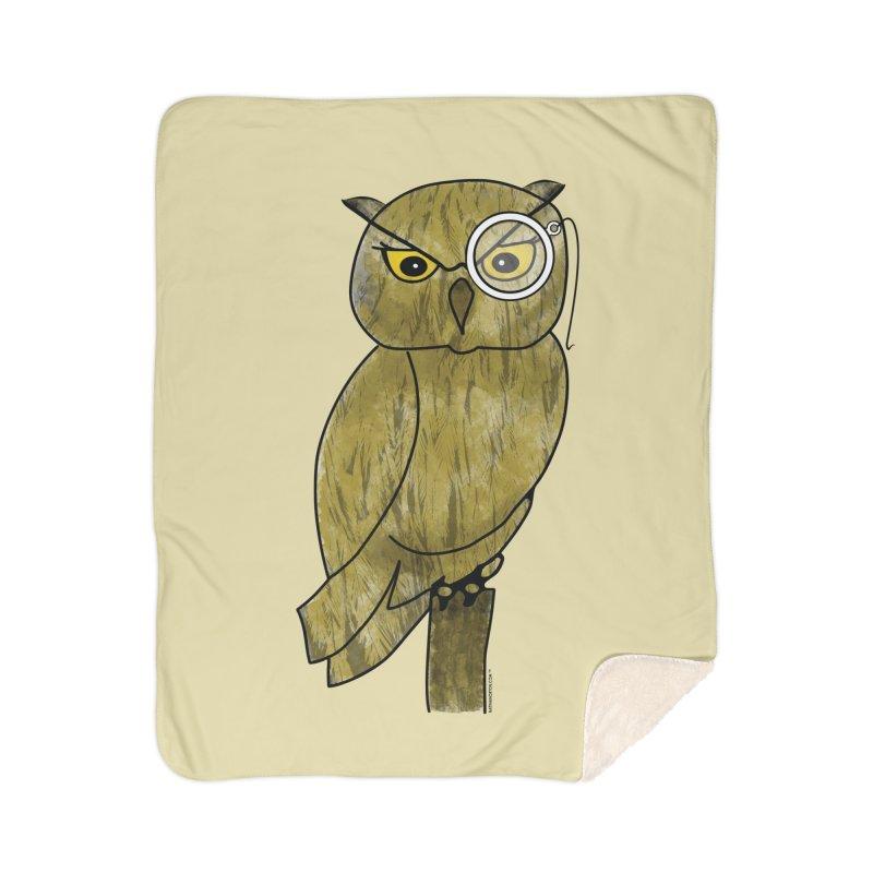 Owl w/ Monocle - Sir Hootington Home Sherpa Blanket Blanket by Natina Norton Designs