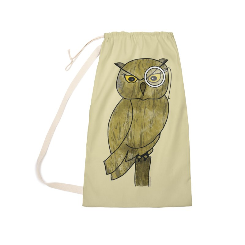 Owl w/ Monocle - Sir Hootington Accessories Laundry Bag Bag by Natina Norton Designs