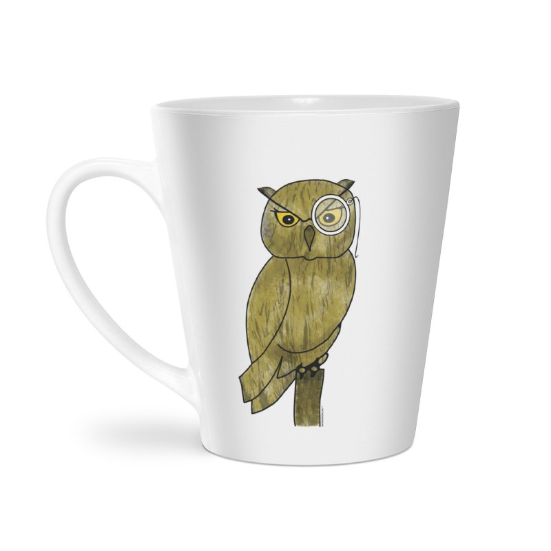 Owl w/ Monocle - Sir Hootington Accessories Latte Mug by Natina Norton Designs