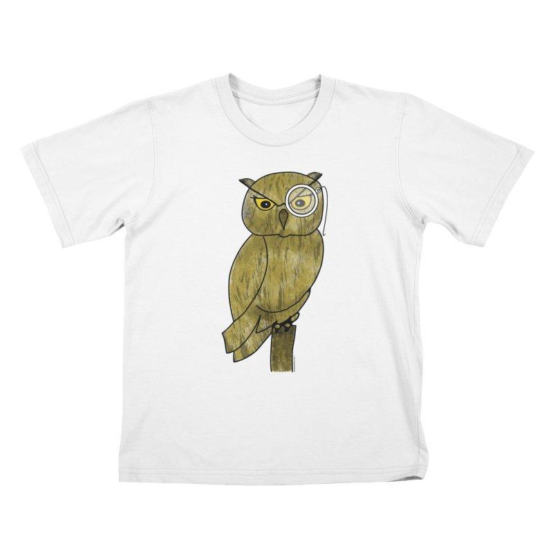 Wisenheimer Owl Kids T-Shirt by Natina Norton Designs