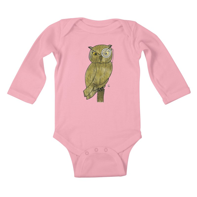 Sir Hootington Kids Baby Longsleeve Bodysuit by Hardcore Hardwear & Design Shop