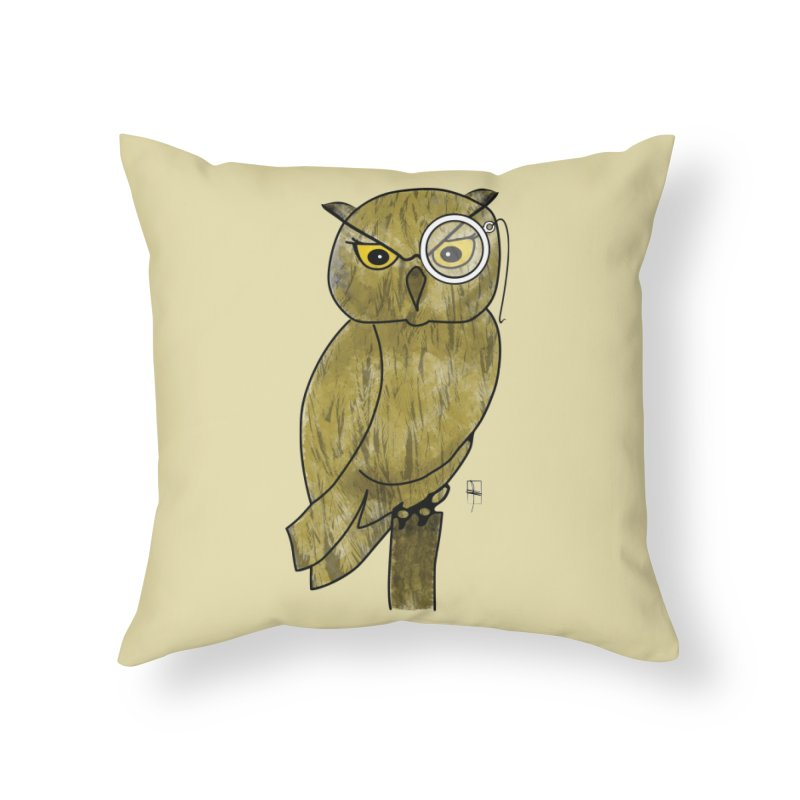 Sir Hootington Home Throw Pillow by Hardcore Hardwear & Design Shop