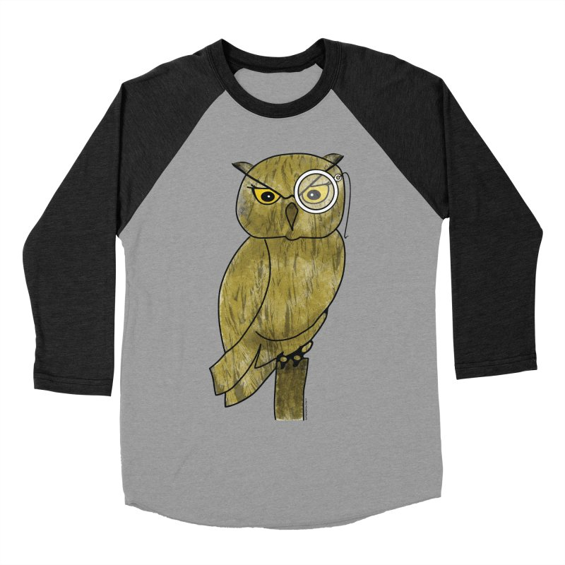 Sir Hootington - Owl Men's Baseball Triblend T-Shirt by Natina Norton Designs