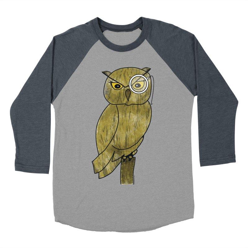 Sir Hootington - Owl Men's Baseball Triblend T-Shirt by Natina Norton Designs