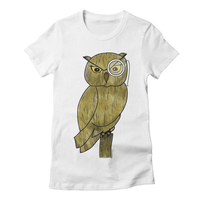 Sir Hootington - Owl Women's Fitted T-Shirt by Natina Norton Designs