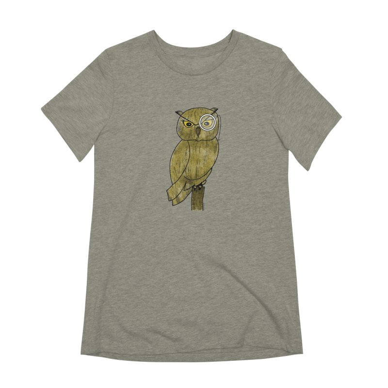 Owl w/ Monocle - Sir Hootington Women's Extra Soft T-Shirt by Natina Norton Designs