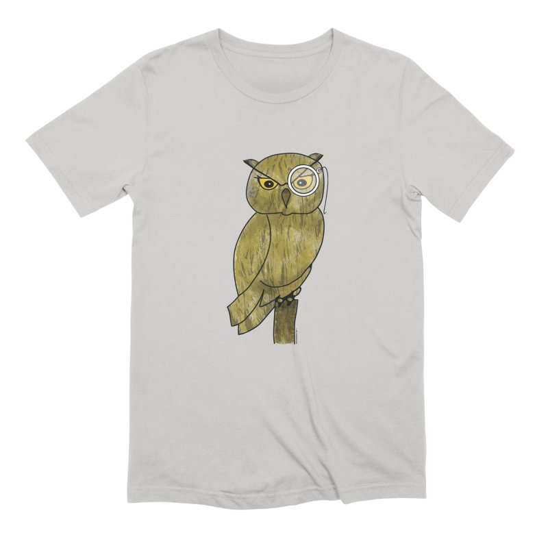 Owl w/ Monocle - Sir Hootington Men's Extra Soft T-Shirt by Natina Norton Designs