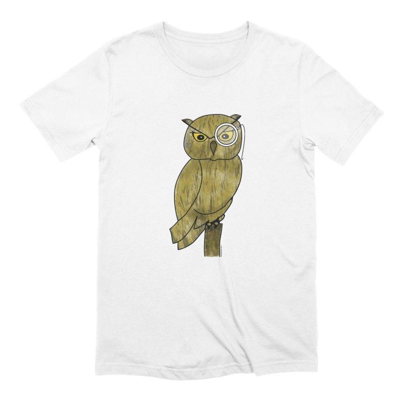 Owl w/ Monocle - Sir Hootington Men's Extra Soft T-Shirt by Natina Norton Designs