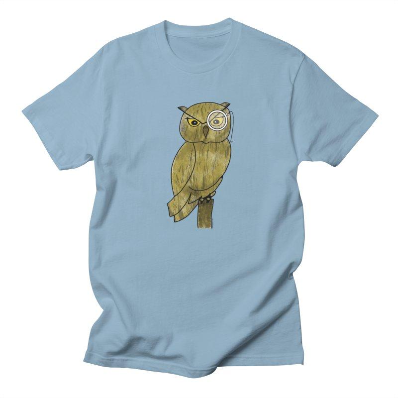 Owl w/ Monocle - Sir Hootington Men's Regular T-Shirt by Natina Norton Designs