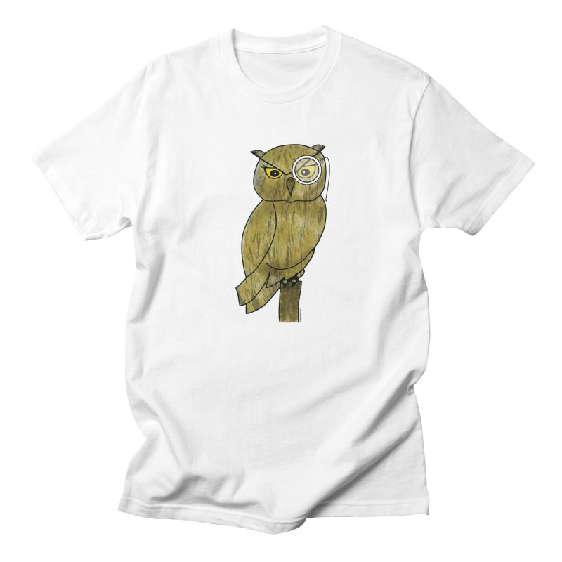 Owl w/ Monocle - Sir Hootington Men's Regular T-Shirt by Natina Norton Designs