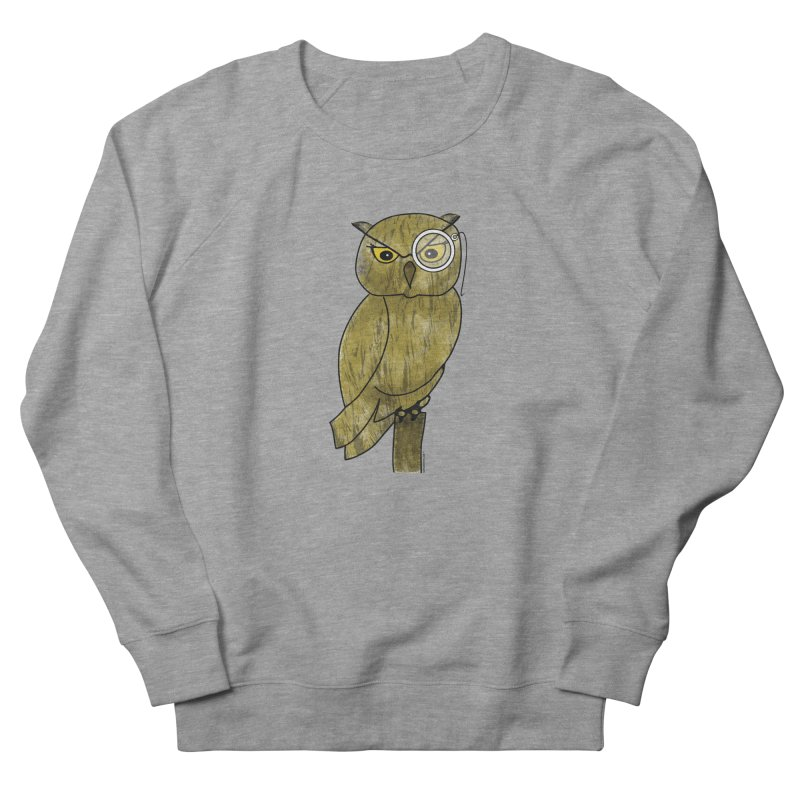 Owl w/ Monocle - Sir Hootington Men's French Terry Sweatshirt by Natina Norton Designs