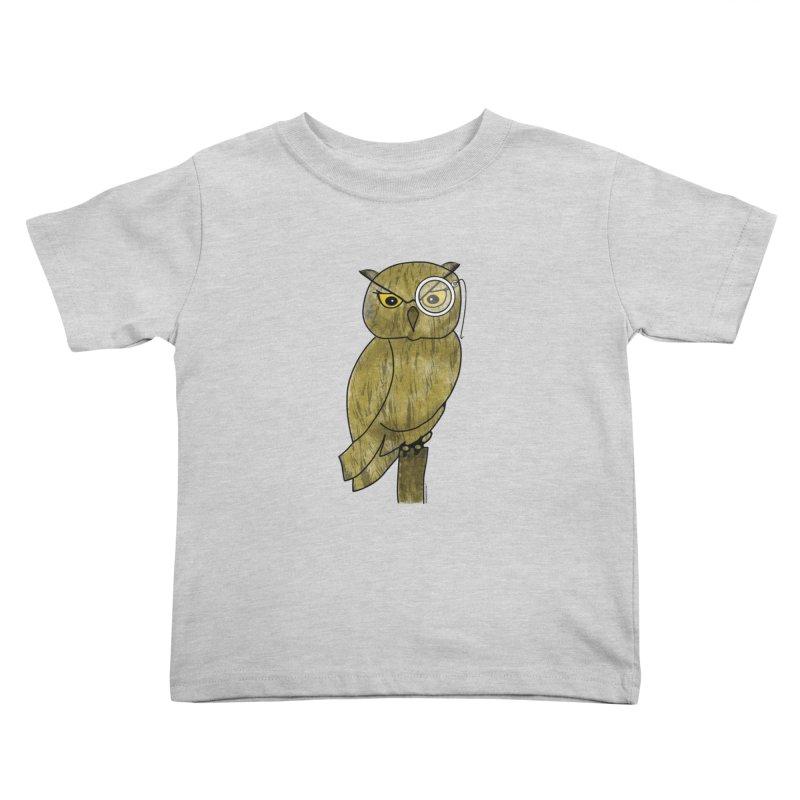 Owl w/ Monocle - Sir Hootington Kids Toddler T-Shirt by Natina Norton Designs