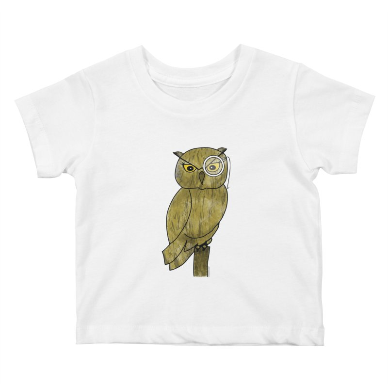 Owl w/ Monocle - Sir Hootington Kids Baby T-Shirt by Natina Norton Designs