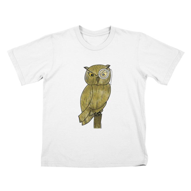 Owl w/ Monocle - Sir Hootington Kids T-Shirt by Natina Norton Designs