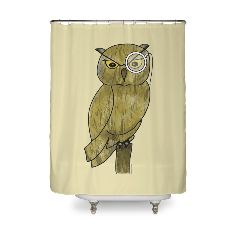 Owl w/ Monocle - Sir Hootington Home Shower Curtain by Natina Norton Designs