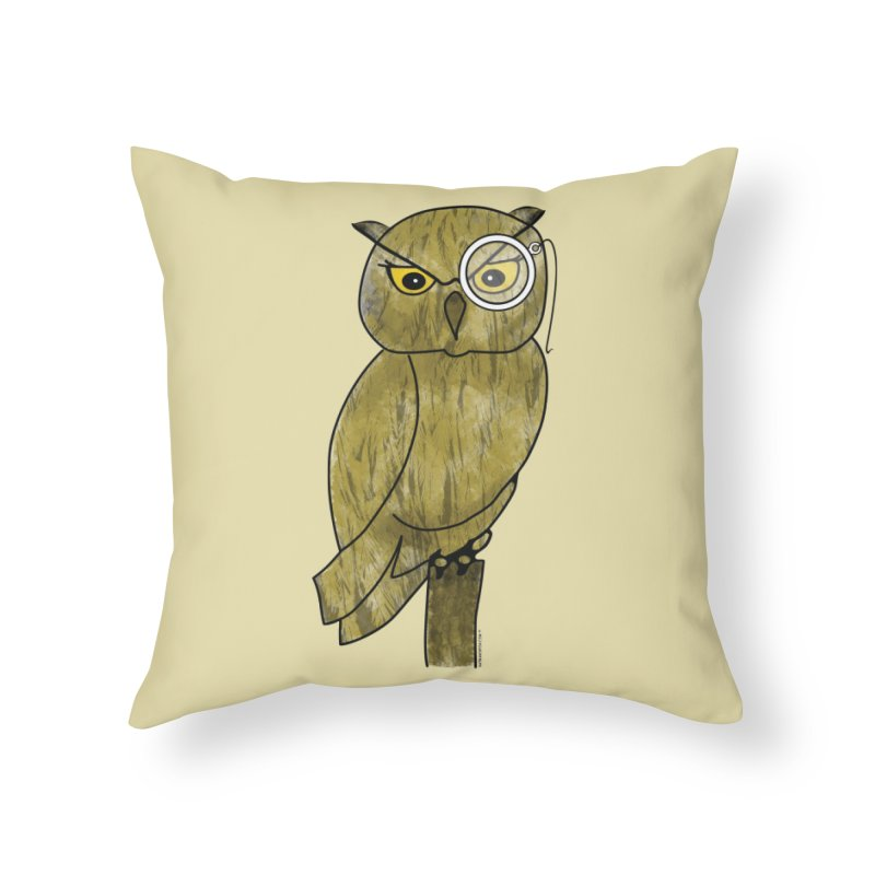Owl w/ Monocle - Sir Hootington Home Throw Pillow by Natina Norton Designs