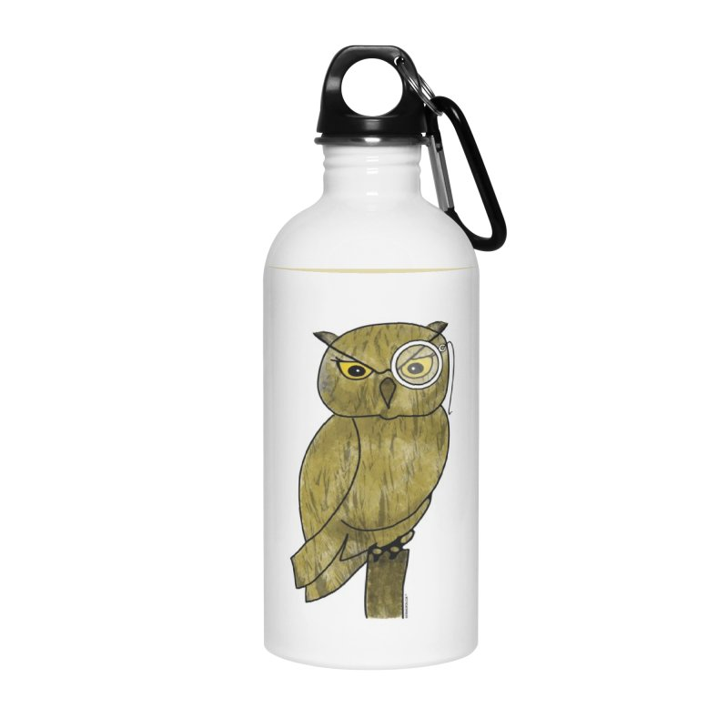 Owl w/ Monocle - Sir Hootington Accessories Water Bottle by Natina Norton Designs
