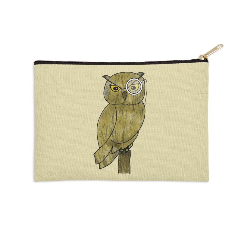 Owl w/ Monocle - Sir Hootington Accessories Zip Pouch by Natina Norton Designs