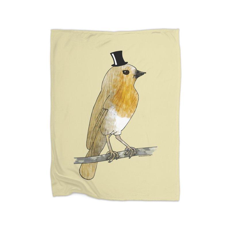 Lord Robin Cheerily - Bird Home Fleece Blanket by Natina Norton Designs