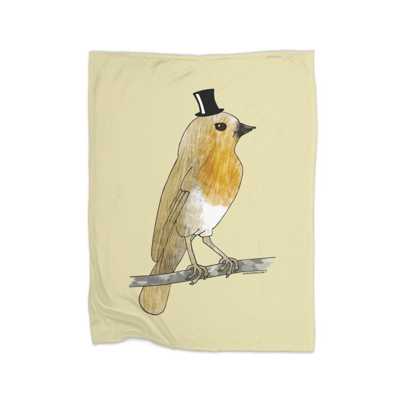Bird in a Top Hat - Lord Robin Cheerily Home Fleece Blanket Blanket by Natina Norton Designs