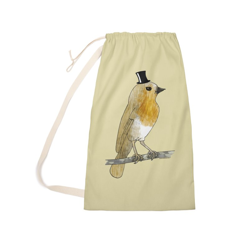 Bird in a Top Hat - Lord Robin Cheerily Accessories Laundry Bag Bag by Natina Norton Designs