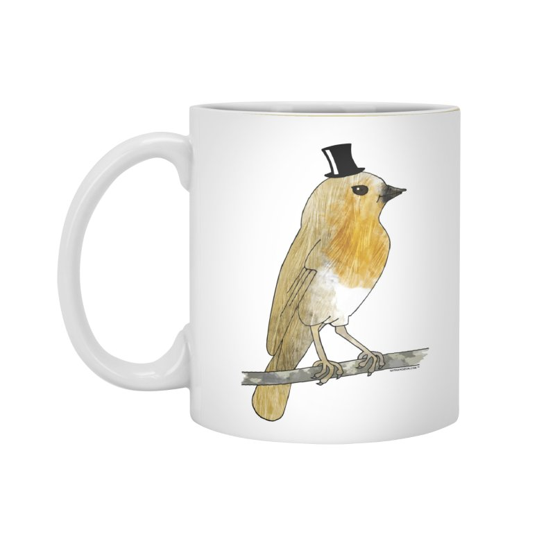 Bird in a Top Hat - Lord Robin Cheerily Accessories Standard Mug by Natina Norton Designs