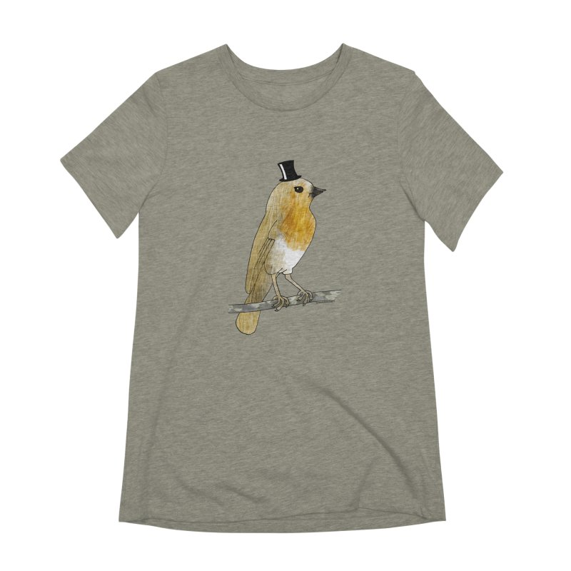 Bird in a Top Hat - Lord Robin Cheerily Women's Extra Soft T-Shirt by Natina Norton Designs