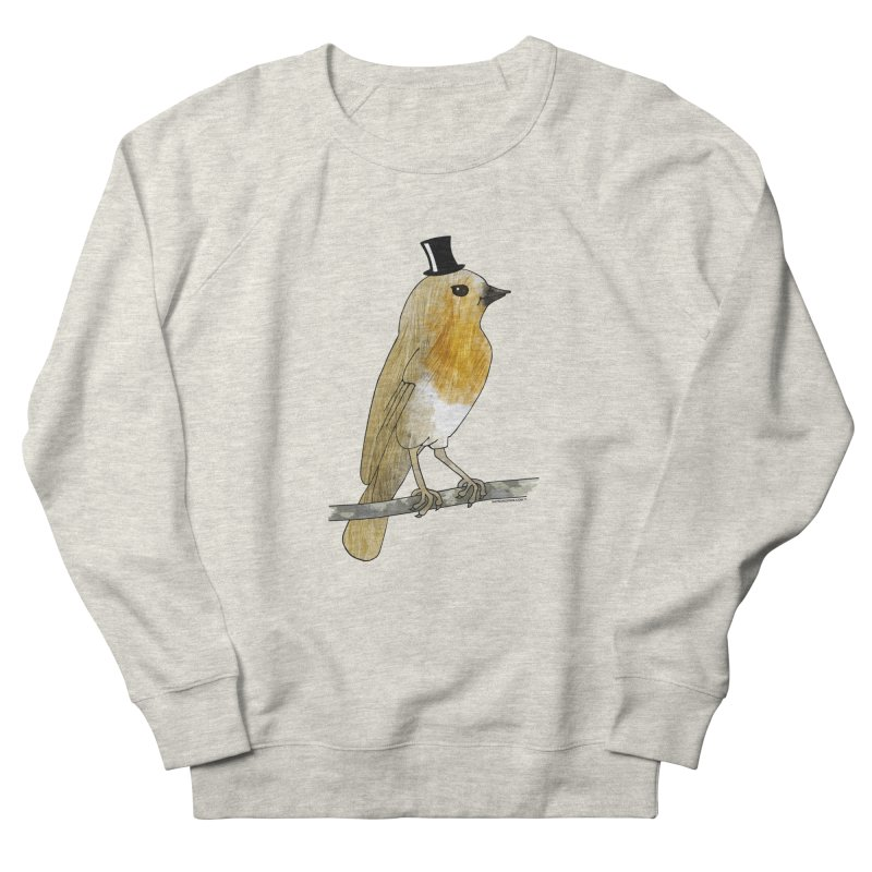 Bird in a Top Hat - Lord Robin Cheerily Men's French Terry Sweatshirt by Natina Norton Designs