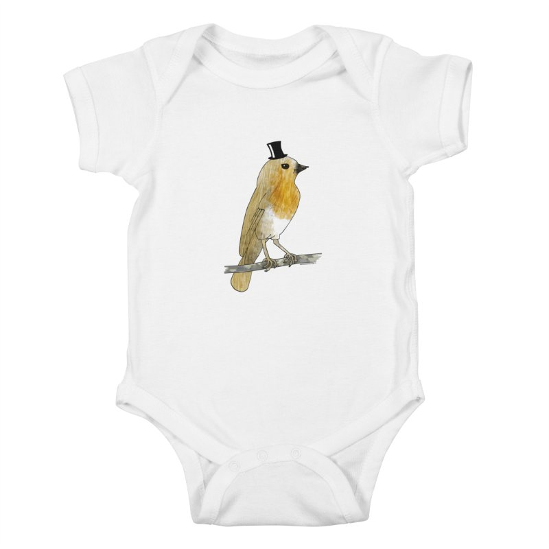 Bird in a Top Hat - Lord Robin Cheerily Kids Baby Bodysuit by Natina Norton Designs
