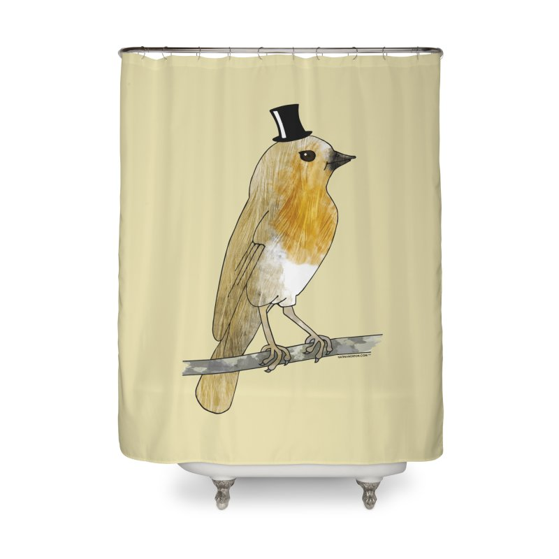 Bird in a Top Hat - Lord Robin Cheerily Home Shower Curtain by Natina Norton Designs