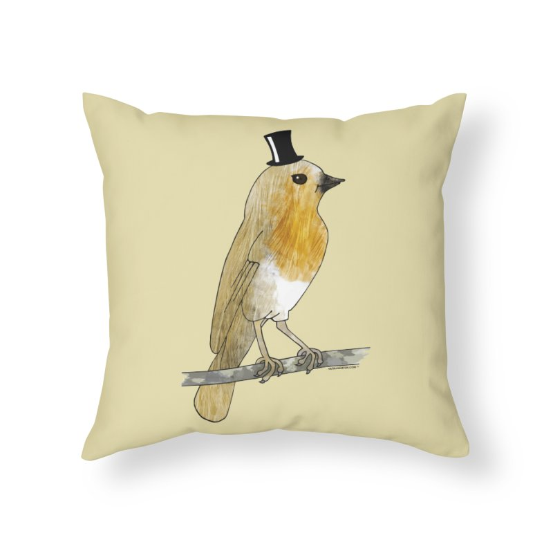 Bird in a Top Hat - Lord Robin Cheerily in Throw Pillow by Natina Norton Designs