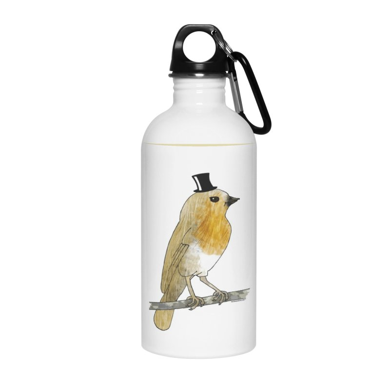 Bird in a Top Hat - Lord Robin Cheerily Accessories Water Bottle by Natina Norton Designs