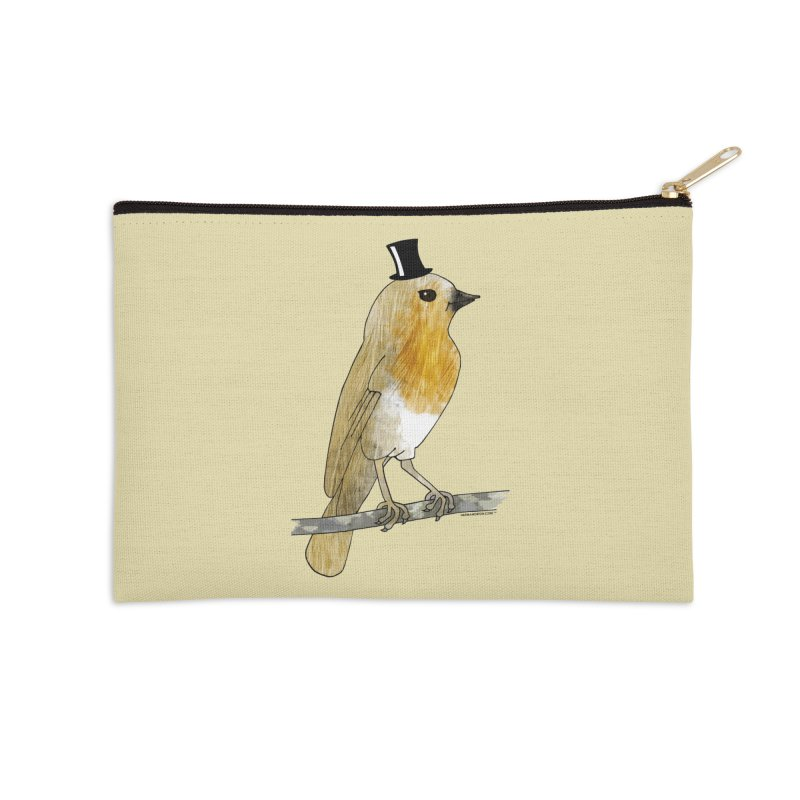 Bird in a Top Hat - Lord Robin Cheerily Accessories Zip Pouch by Natina Norton Designs