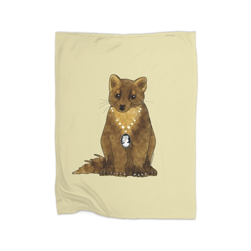 Classy Cameo - Lady Pine Marten Home Fleece Blanket Blanket by Natina Norton Designs