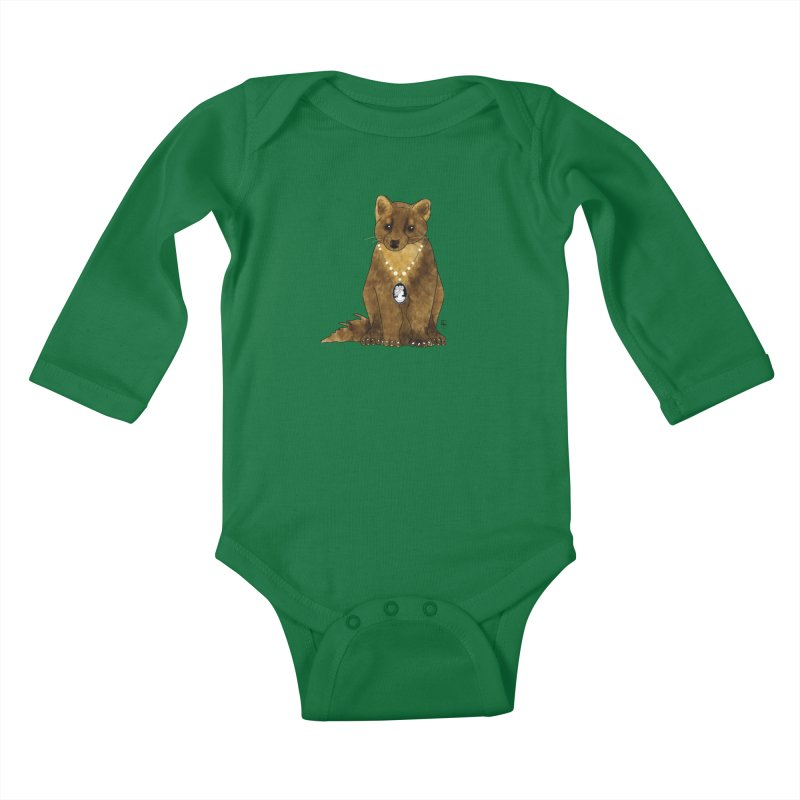 Lady Pine Marten Kids Baby Longsleeve Bodysuit by Hardcore Hardwear & Design Shop